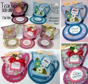 Teacup Easel Cards with Pockets: click to enlarge
