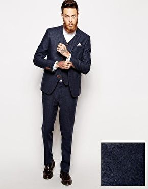 ASOS Skinny Fit Suit in Herringbone in Navy | Suits | Pinterest ...