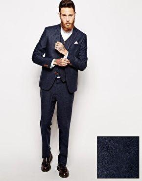ASOS Slim Fit Suit in Herringbone in Navy at asos.com
