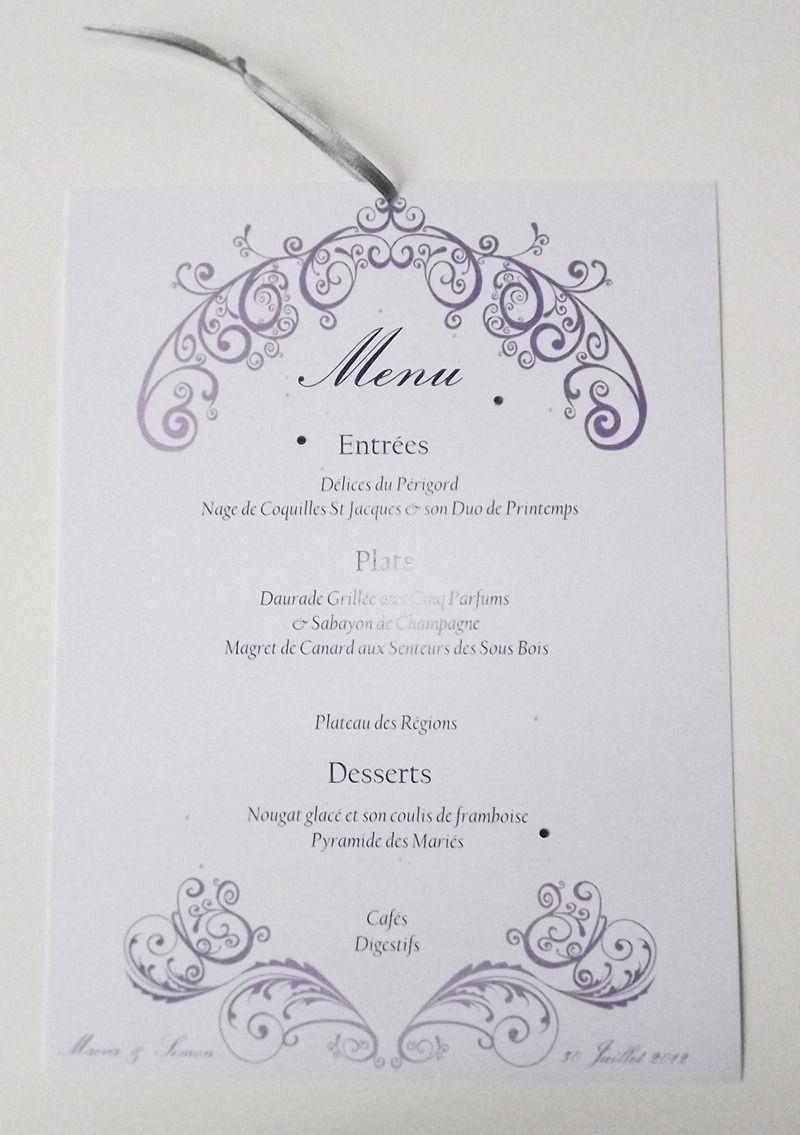 menu de mariage chic id es d co mariage pinterest menu de mariage mariage chic et menus. Black Bedroom Furniture Sets. Home Design Ideas