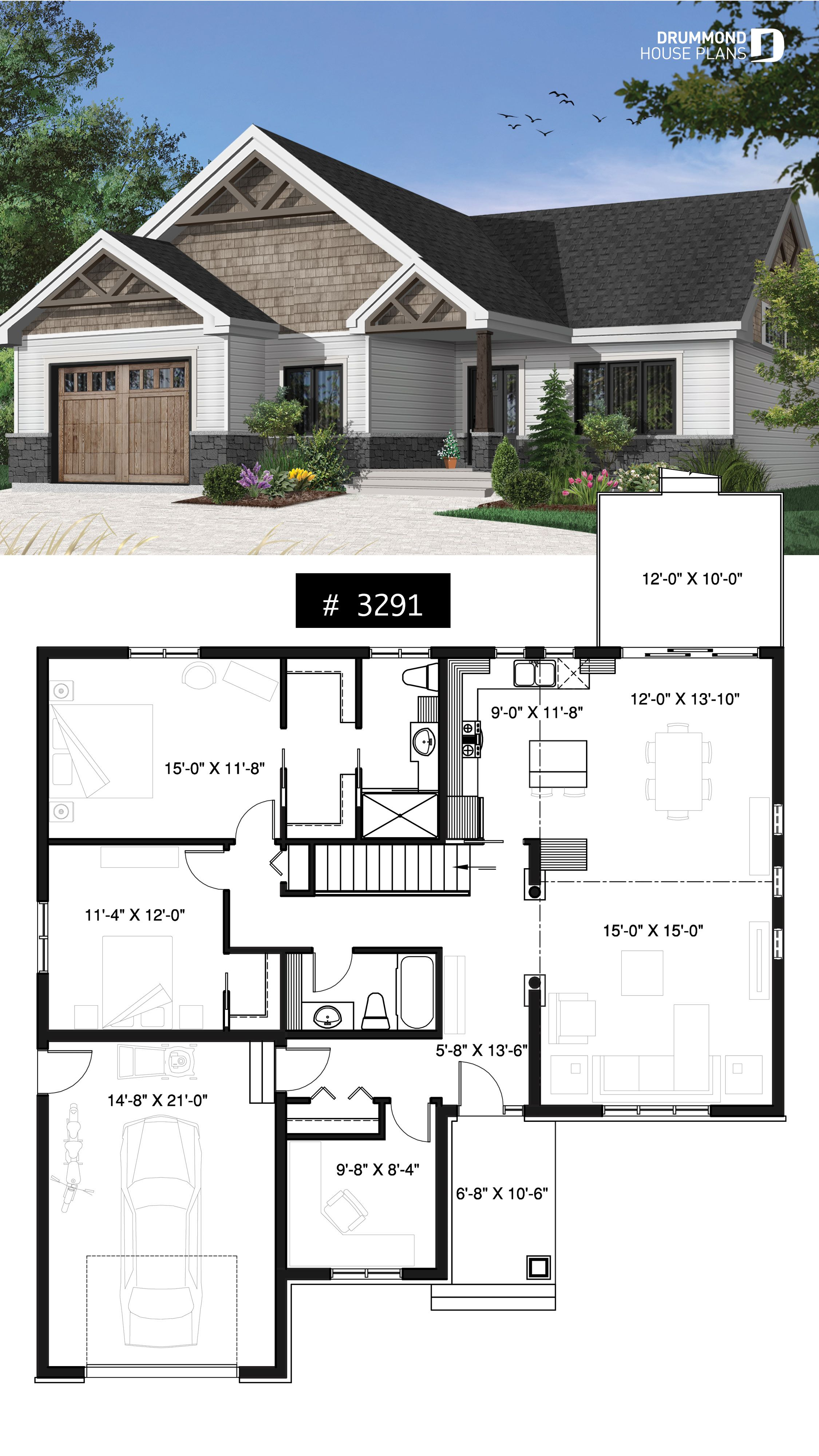 Discover The Plan 3291 Woodside Which Will Please You For Its 2 3 Bedrooms And For Its Mountain Styles Sims House Plans Bungalow Floor Plans Best House Plans