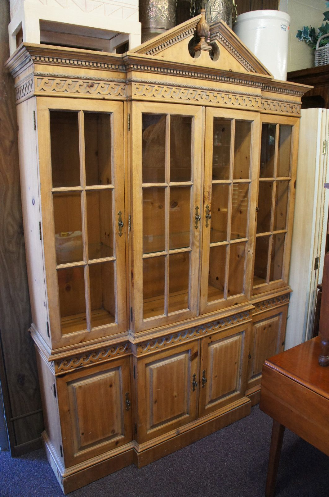French country china cabinets - Drexel Heritage Pine Curio China Cabinet Glass Shelves French Country Lit Ships Ebay
