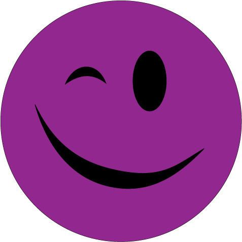 Details About Winking Smiley Face Sticker Purple Novelty