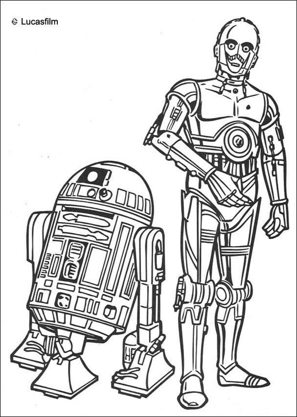 R2 D2 And C 3PO Coloring Page More Star Wars Droid Sheets On Hellokids
