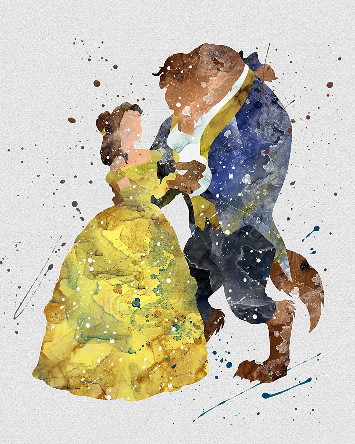 Watercolor Beauty and the Beast | Belle and Beast Home Print | 8.5 x ...