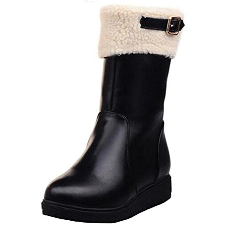 Women's Trendy Solid Waterproof Faux Fur Lined Zipper Low Heel Buckle Warm Winter Snow Boots