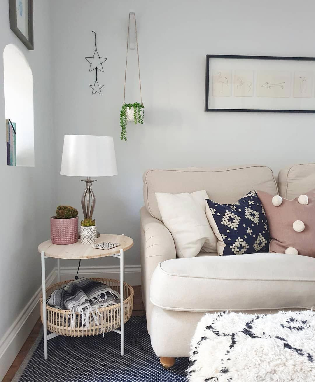 You're guaranteed to love one of these hot hues! Pale blue grey living room. DFS English roll arm sofa in ...