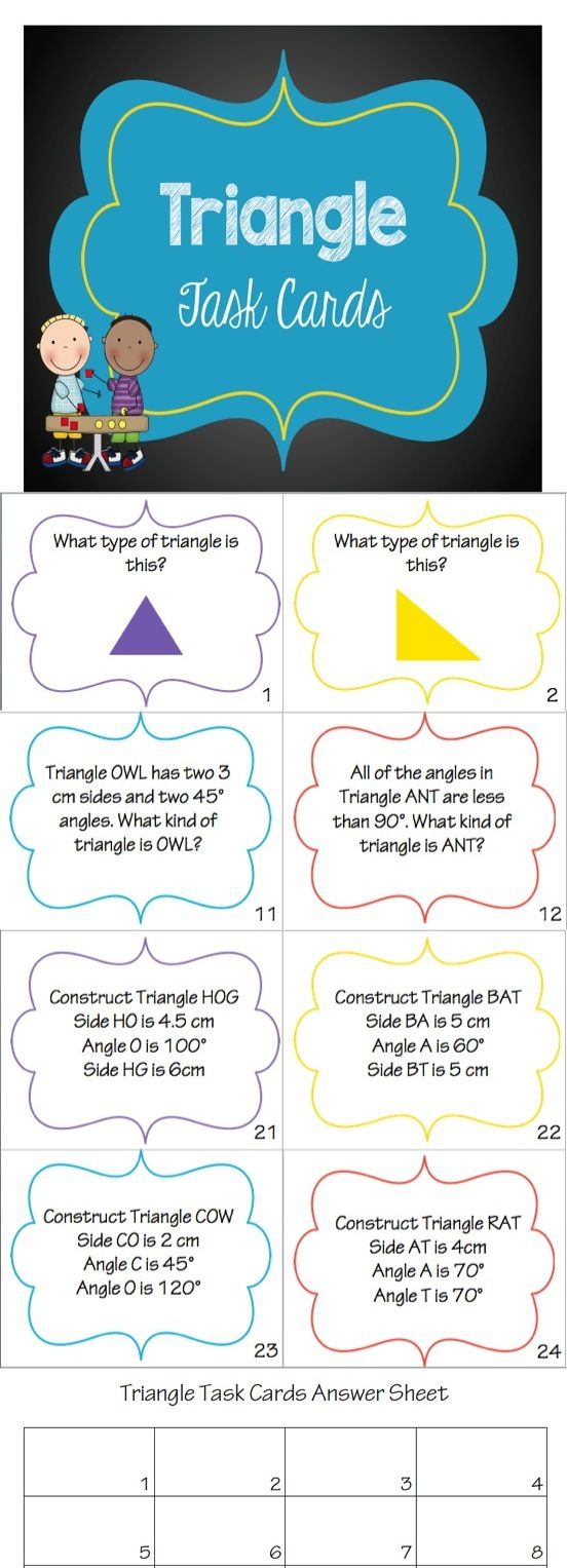 Triangle Task Cards Task Cards Math Resources Math