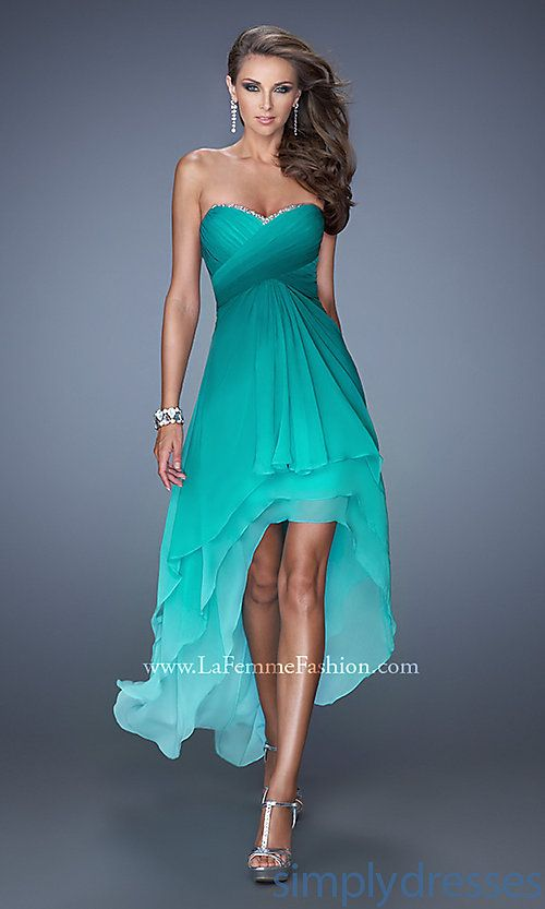 1642e49316 Pretty For Strapless Ombre High Low Dress by La Femme - Your Online Guide  to Prom   Semi Formal Dresses
