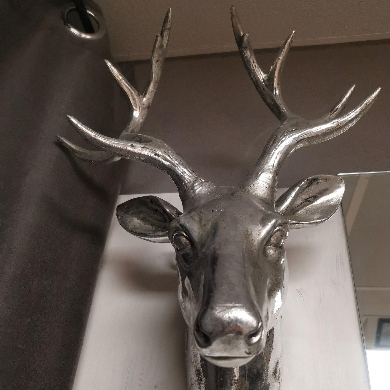 mega deko element geweih hirschkopf hirsch wanddekoration naturmaterialien wandobjekt metall silber