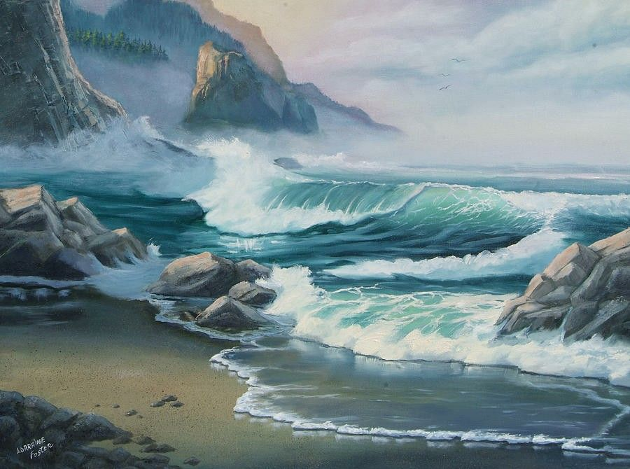 Pin By My Boards Of Art On Cityscapes Landscapes Seascapes In Acrylics Oils Pastels Pencils Watercolors Beach Landscape Ocean Landscape Seascape Paintings