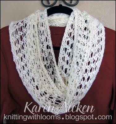 Knitting With Looms Finished Lacy Infinity Scarf Knit Pinterest