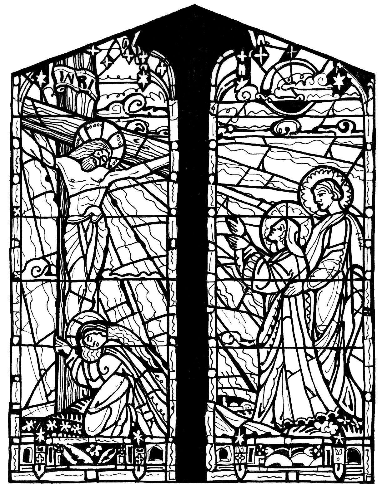 Images For > Stained Glass Cross Coloring Page Church