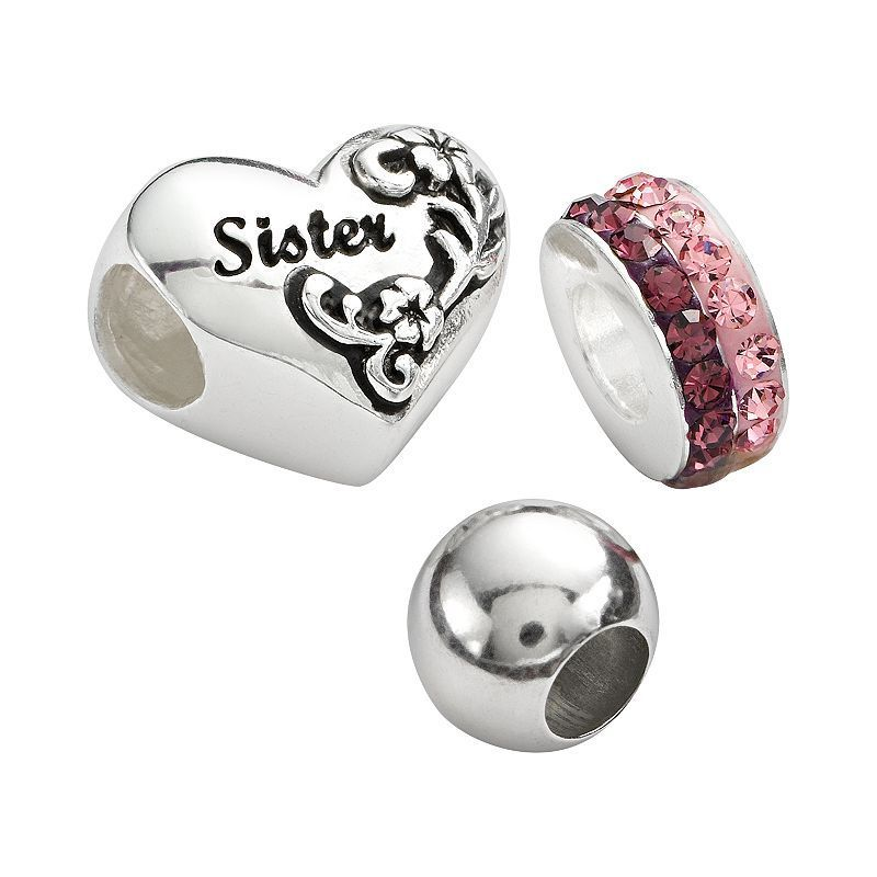 Individuality Beads Sterling Silver Crystal Spacer, Round Spacer and Sister Heart Bead Set, Grey