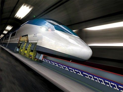 High-speed maglev (short for magnetic levitation) trains float on air because electrified metal coils in the guideway, or track, repel large magnets attached beneath the train. Since there's no friction, the train can go fast -- more than 300 miles per hour!