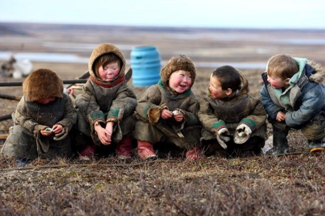 © Александр Романов Children who live inside the Arctic Circle. Tazov Peninsula, Russia.