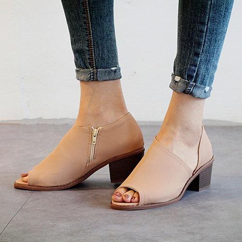 64bb29ae4107  Spring  AdoreWe  PopJulia -  PopJulia Plus Size Peep Toe Shoes Women PU  Zipper Pumps - AdoreWe.com