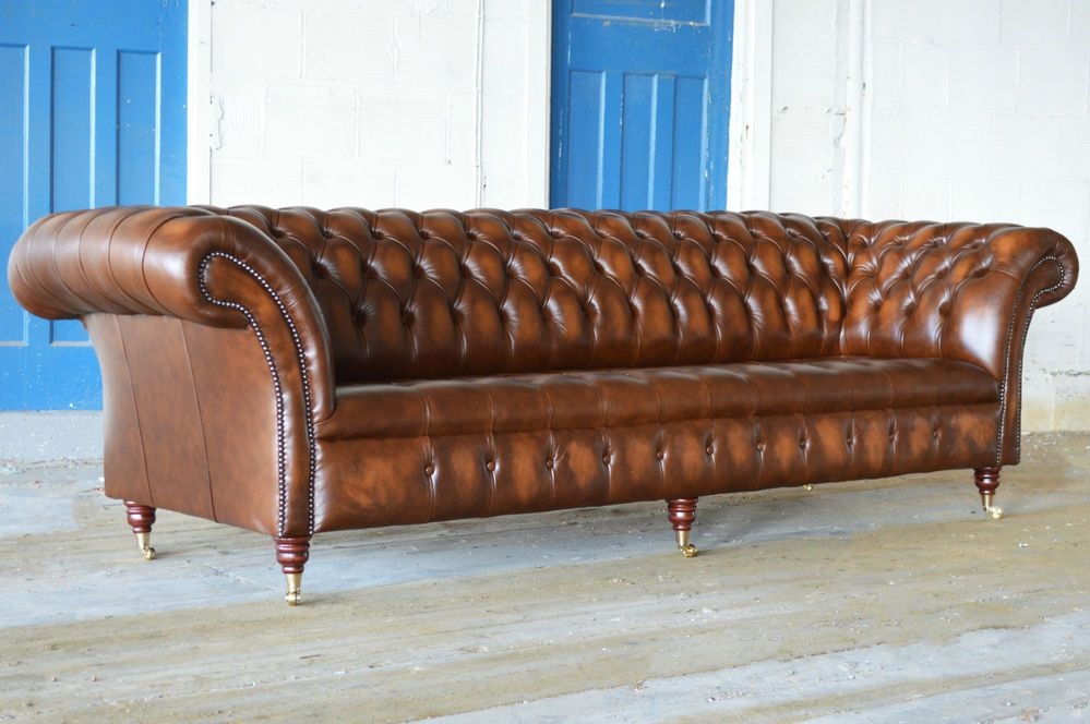Ebay Company 1195 Handmade Traditional 4 Seater Gold Leather Chesterfield Sofa With Caster Legs
