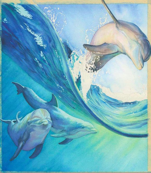 Painting Dolphins In Watercolor Dolphin Painting Sea Life Art