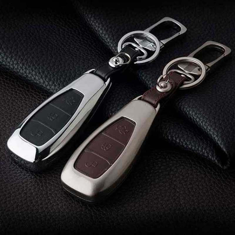 Leather Car Styling Key Cover Case For Ford Focus 2 3 St Mondeo Kuga Fiesta Ecosport Ranger Escape Key Case For F Car Key Ring Leather Key Holder Leather Cover