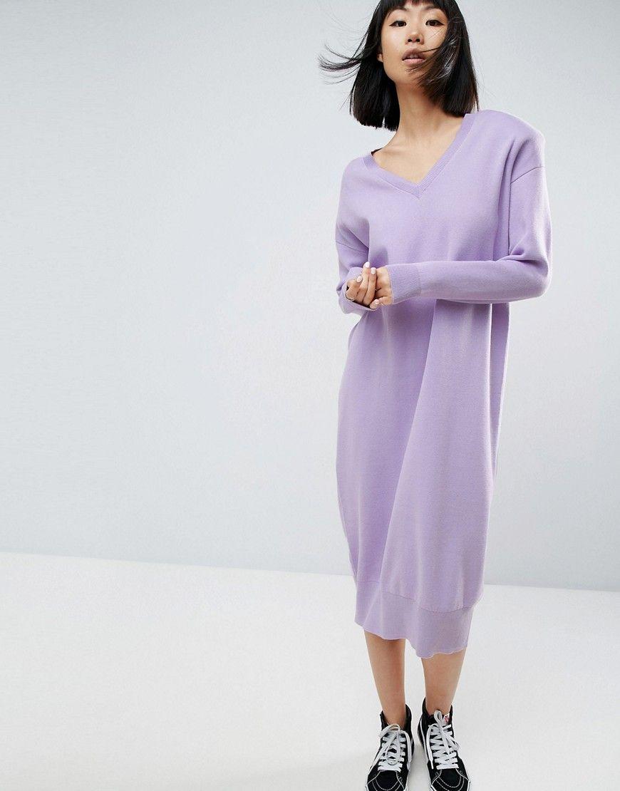 asos white - midi-strickkleid mit schulterpolstern - violett