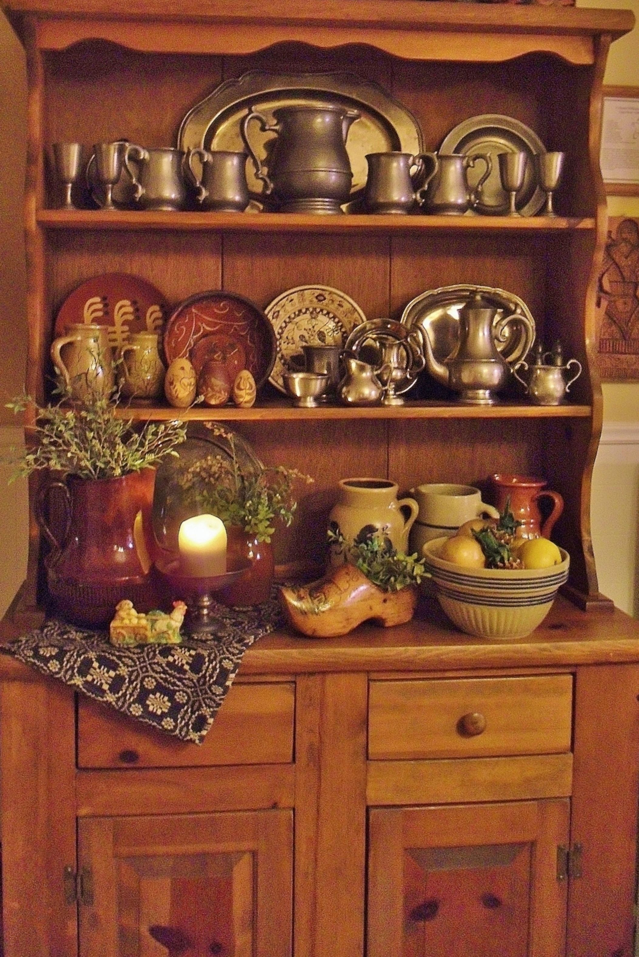 Pine Hutch, Pewter, Redware & Crocks
