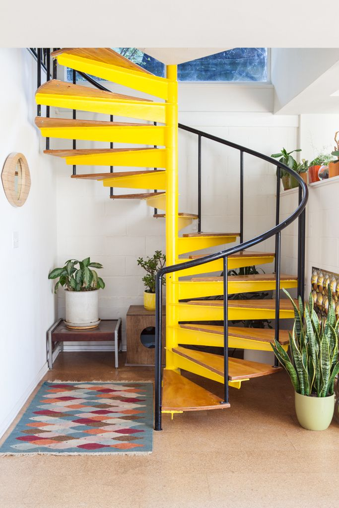 Modern Spiral Staircase With A Fresh Striking Update Using Bold | Painting Metal Spiral Staircase | Handrail | Iron | Stair Treads | Steel | Staircase Kit
