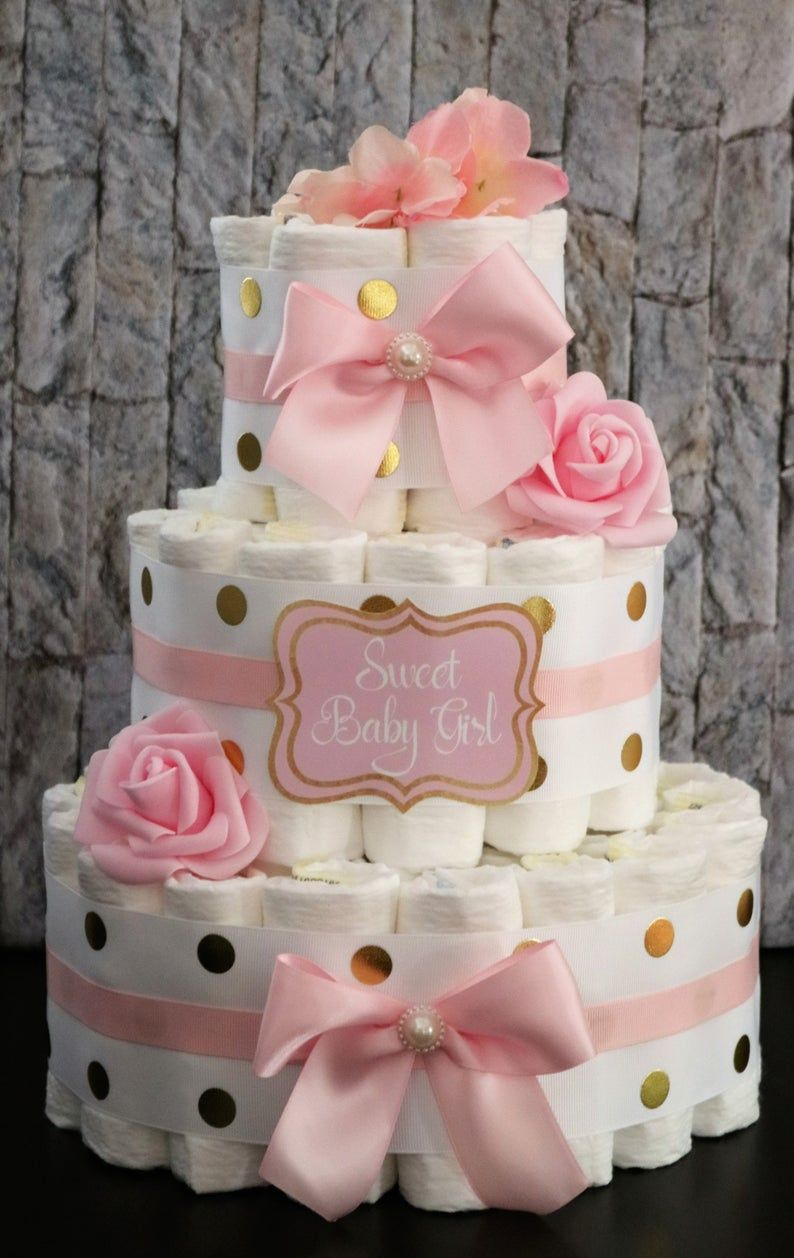 On Sale Pink And Gold Baby Shower Baby Girl Unique Diaper Cake Girl Baby Shower Its A Girl Mommy To Be Floral Diaper Cake Its A Girl In 2020 Baby Girl