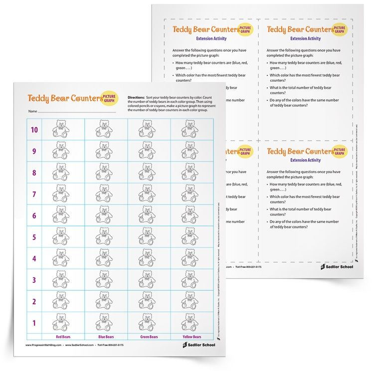 Using Counters In Math Plus A Teddy Bear Picture Graph Worksheet
