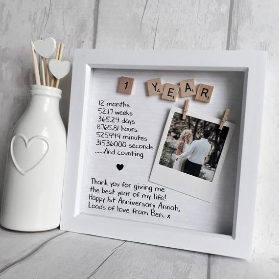 First Anniversary Frame Anniversary Gift Gift For Partner | Etsy
