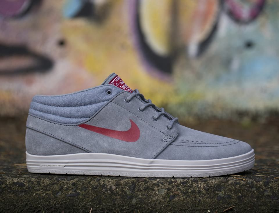 Sneak Peek! A Lunar Stefan Janoski Mid in Cool Grey and Gym Red for December.
