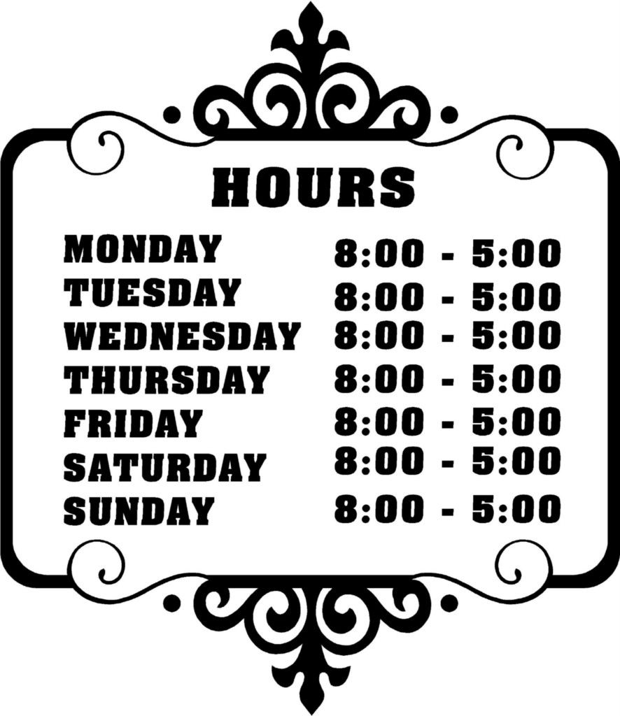 Details about Custom Store Business Hours Sticker Vinyl