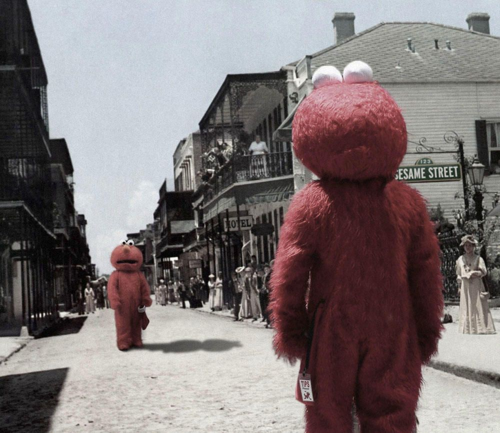 The Streets Aren T Big Enough For The Two Of Us Elmo Funny Basketball Memes Elmo Memes