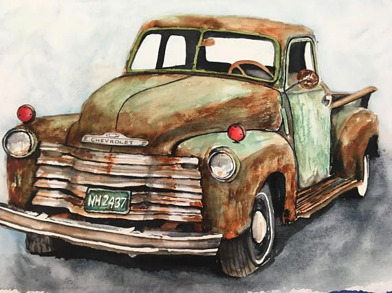 Items similar to Old chevy classic truck watercolor print on paper, dodge pickup, ranch art on Etsy