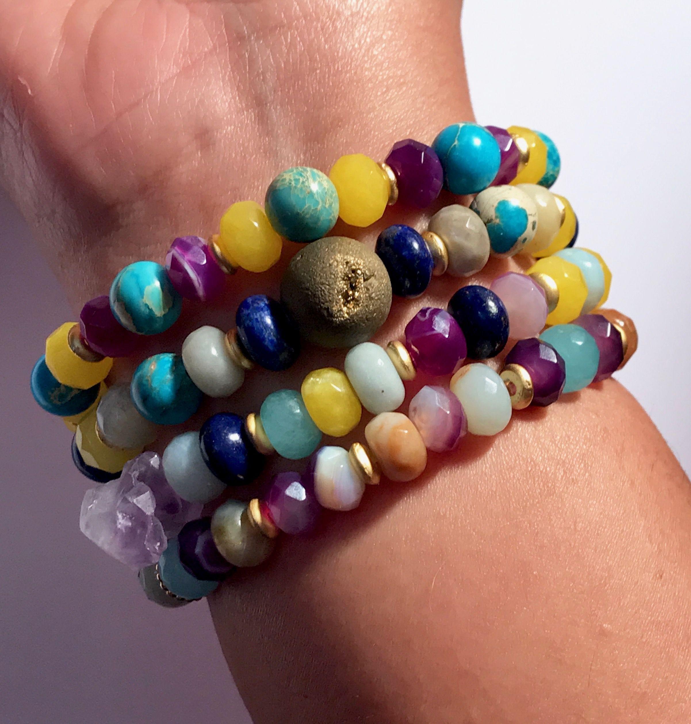 Gemstone Stacking Bracelets Gemstone Bracelets for Layering Beaded ...