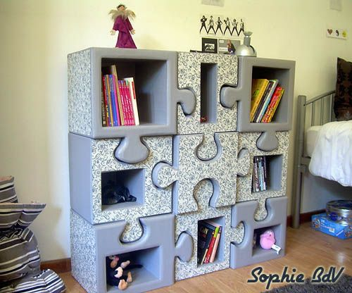 meuble carton etagere en forme de puzzle modulable. Black Bedroom Furniture Sets. Home Design Ideas