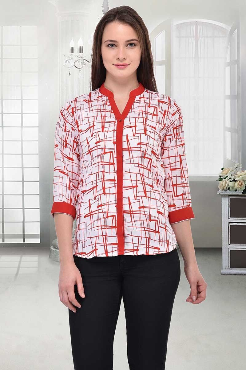 9422be03a6fd4f Readymade Red   White Crepe Western Wear Top - 10012