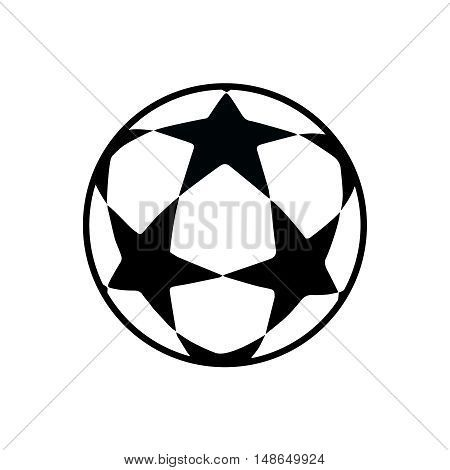 Ball Isolated On White Background Flat Vector Illustration Black And White With Stars Color Bola De Futebol Ideias De Tatuagens Futebol