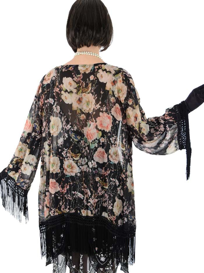 376cab155 <p>Throw this black floral print fringed kimono jacket over your  festival outfit or to complete a 1920s flapper look. Either way will  look ...