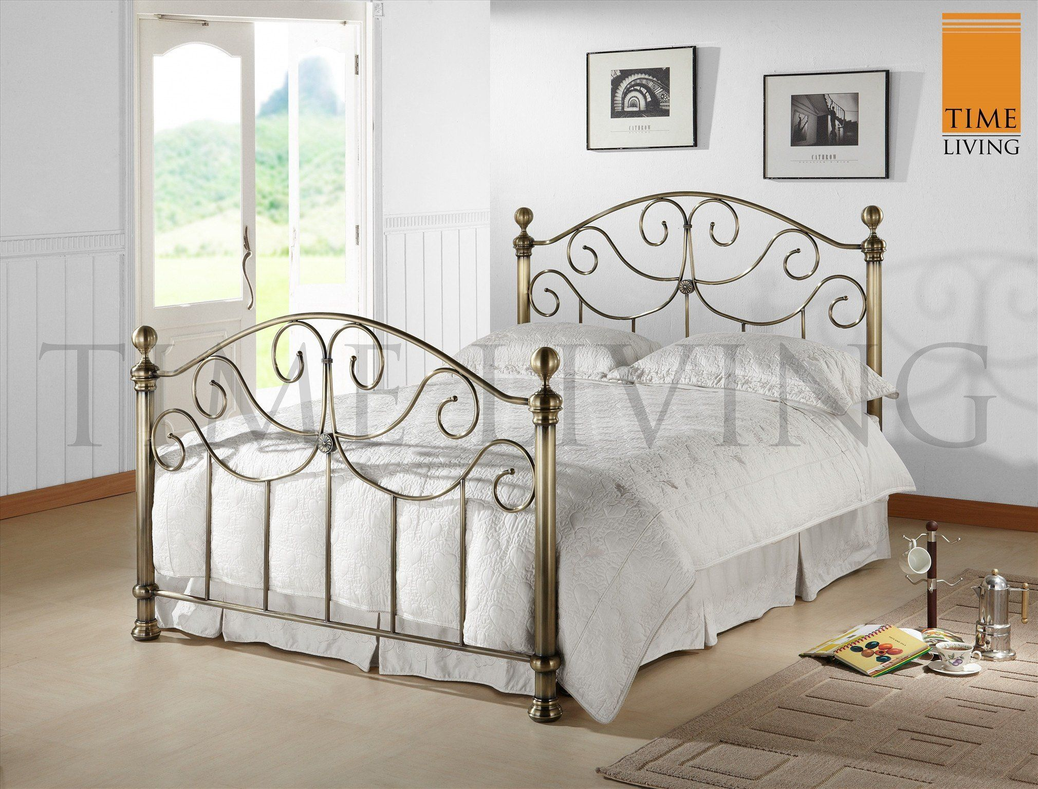 Silver Metal Bed Frame with Nickel Antique Finish Matching