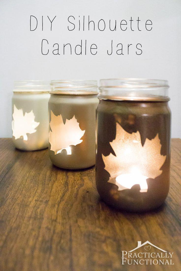 Diy Silhouette Candle Jars Practically Functional Mason Jar Diy Mason Jar Diy Projects Diy Candle Jars