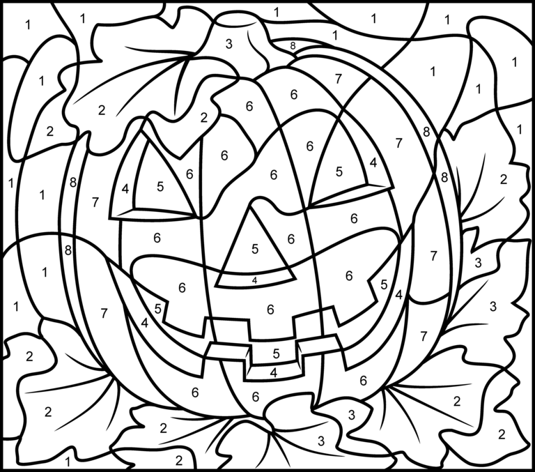 Jack O Lantern Pumpkin color by number activity coloring page