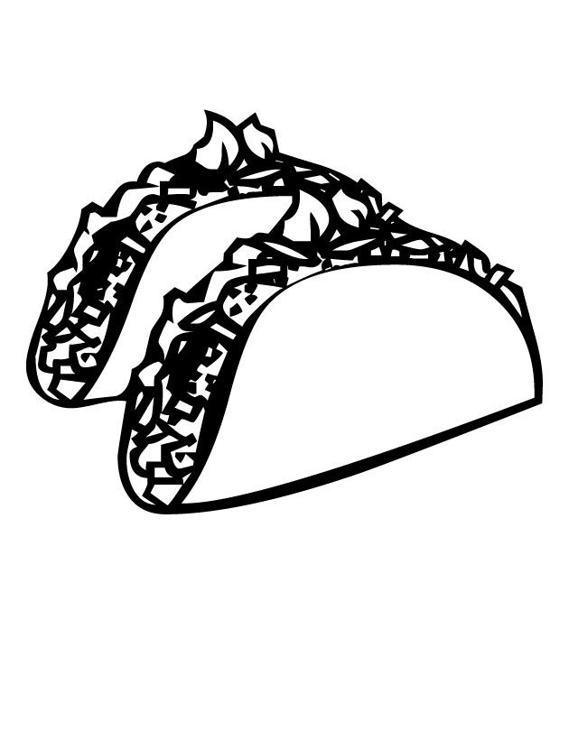 Printable Tacos coloring page from FreshColoring.com