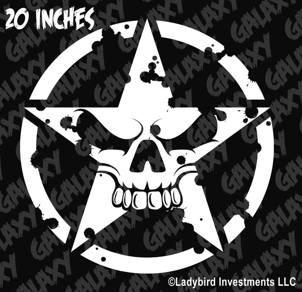 Punisher Army Style Distressed in a Circle Waterproof Vinyl Sticker Decals