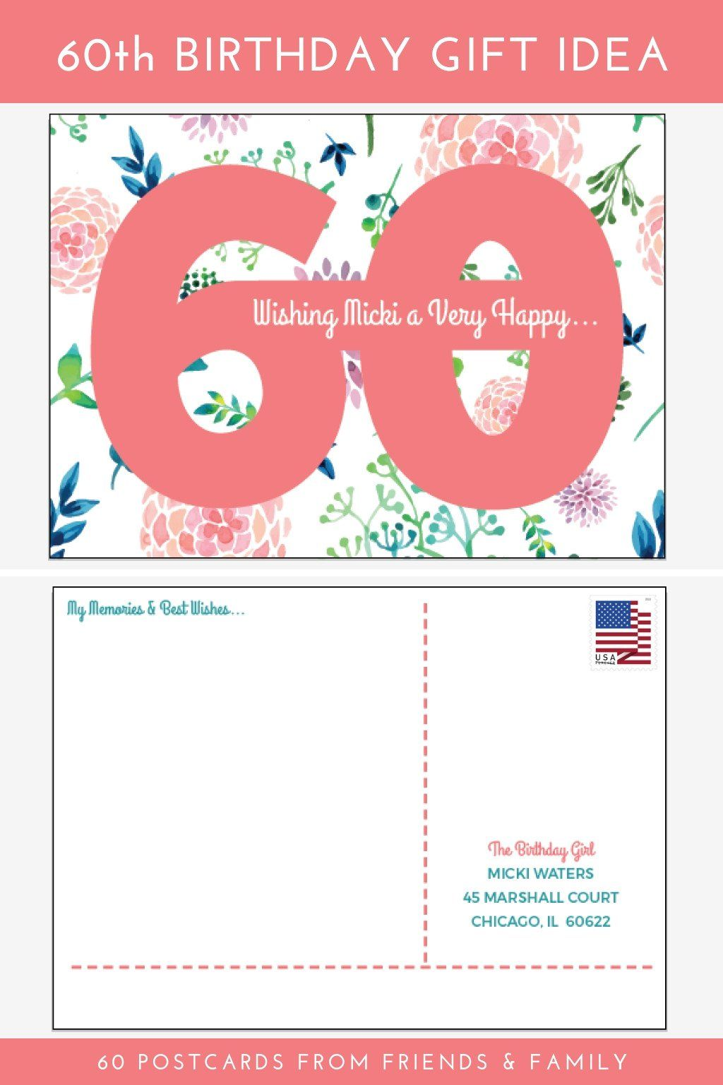 60th Birthday Gift Idea 60 Postcards From Friends And Family Order These Personalized