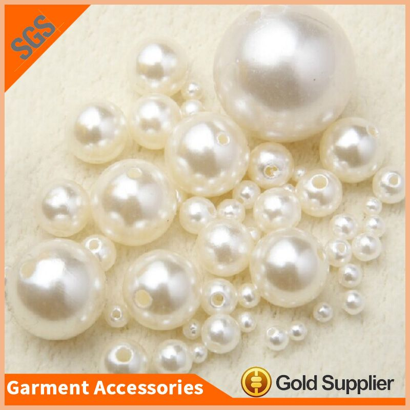 3-20mm Round Ivory Pearls Acrylic Spacer Sew On Beads DIY Beading Jewelry Making