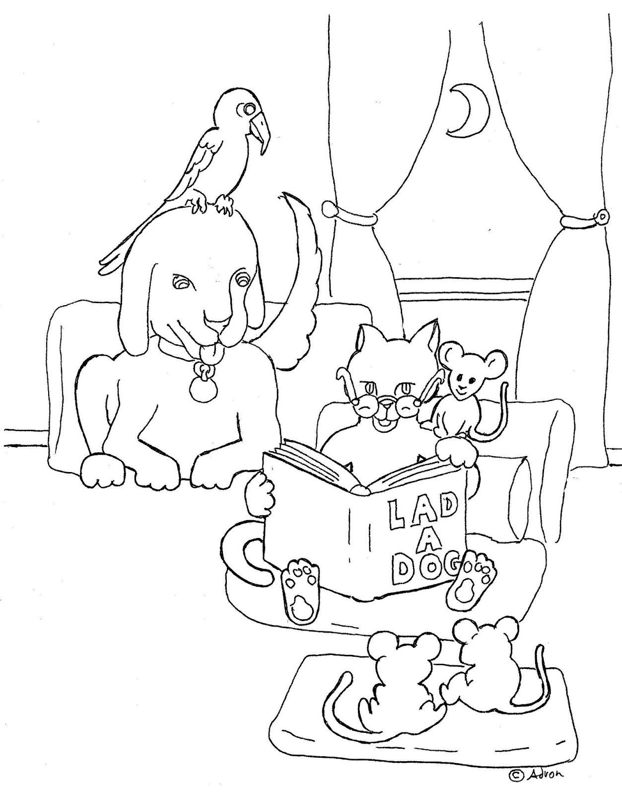 coloring pages for kids by mr adron cat reading book coloring page
