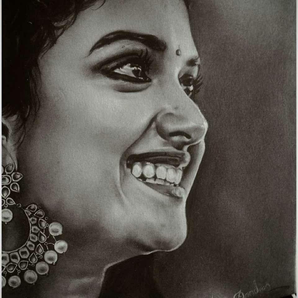 Pencil Sketch Of Keerthi Suresh