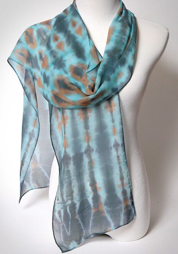 Turquoise Blue Silk Scarf Hand Dyed Shibori Extra long, Boho Chic Robins Egg Scarf. Silk Scarves by Oh Suzanni. 11x 86.