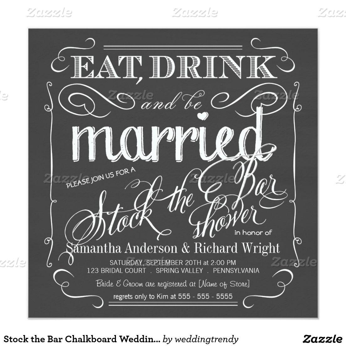 Stock the Bar Chalkboard Wedding Shower Invitation | Shower ...